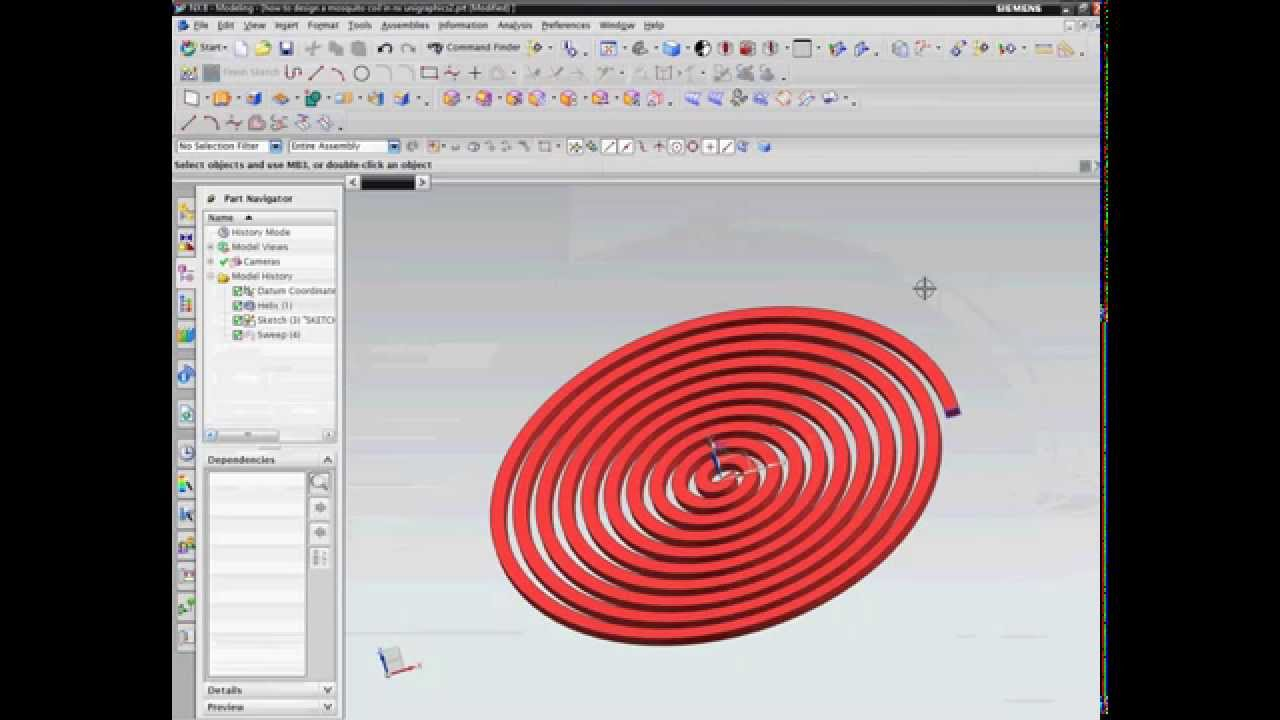 how to design a mosquito coil in nx unigraphics  YouTube