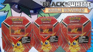 FULL ART N HUNT! Opening 3 Victini Black and White Tins Of Pokemon Cards! 15 Noble Victories Packs!