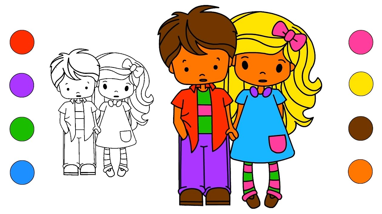 School Girl And Boy Coloring Pages | Coloring Book Drawing Coloring Videos  For Kids To Learn Colors