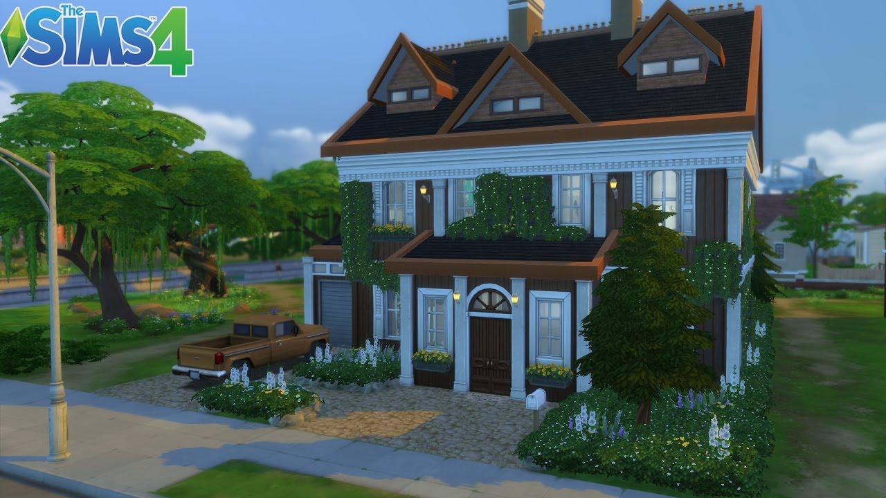 Les sims 4 maison dans les bois construction speed build youtube for Maison prefabriquee sims 4