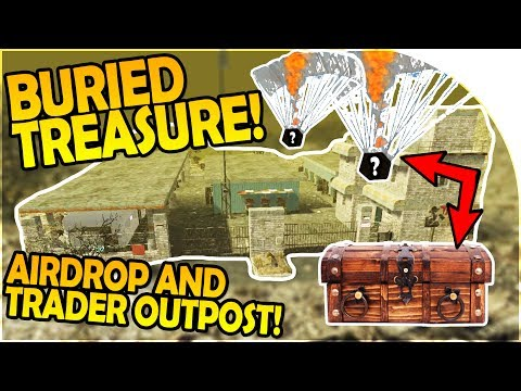 BURIED TREASURE of EPIC LOOT - 2 AIRDROPS + TRADER OUTPOST - 7 Days to Die Alpha 16 Gameplay Part 23
