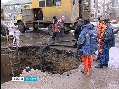 Крупная авария на водопроводе на пр.Октябрьский в Петрозаводске