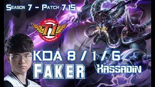 SKT T1 Faker KASSADIN vs TWISTED FATE Mid - Patch 7.15 KR Ranked