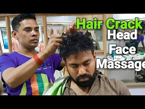 Amazing hair cracking head and face  scrub massage with neck cracking Episode 4