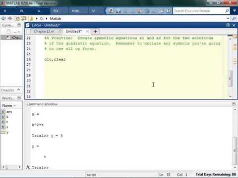 Defining Symbolic Expressions and Equations in MATLAB
