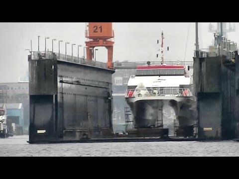 Emden Port shipyard area Floating Island Ferries in docks Schiffe im Dock Baudock Germany