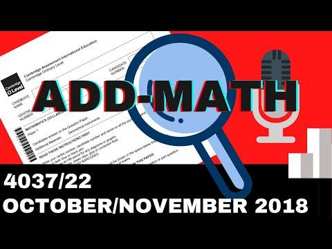 O-Level Add Math October November 2018 Paper 22 4037/22