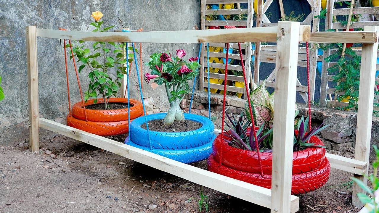 Great Way to REUSE Tires for Colorful Garden and Backyards, Tire Garden Ideas