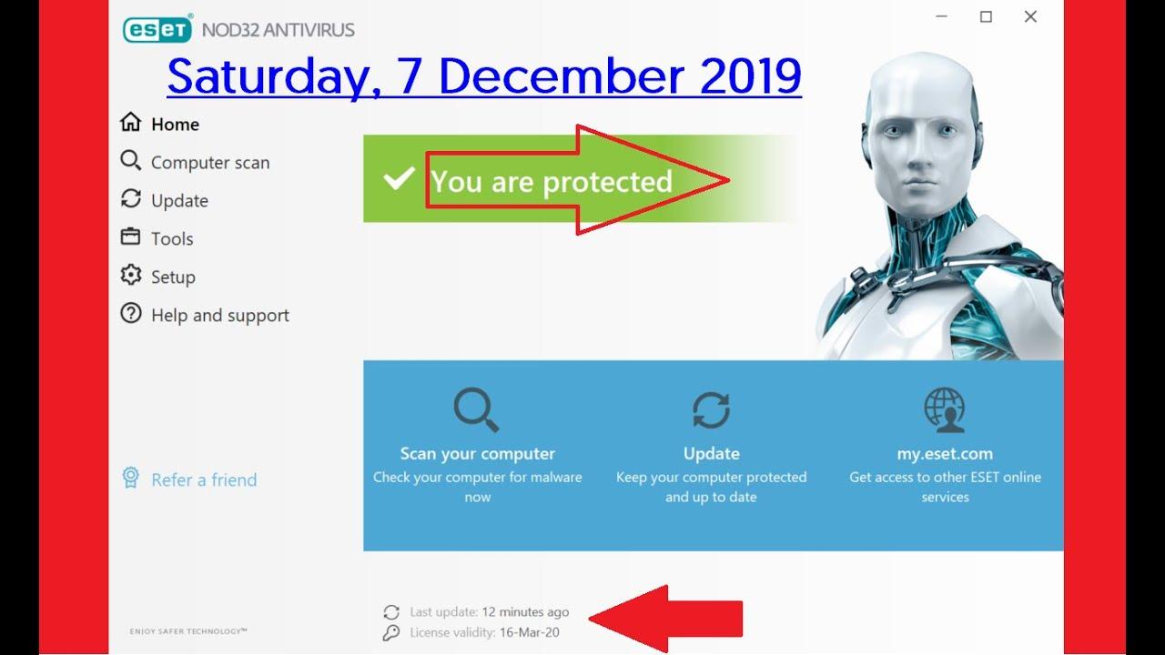 ESET NOD32 Antivirus Free license key valid till March ...