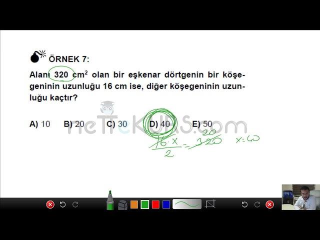 DGS Sayısal - Yamuk, Eşkenar Dörtgen ve Deltoid / nettekurs.com Online DGS Kursu
