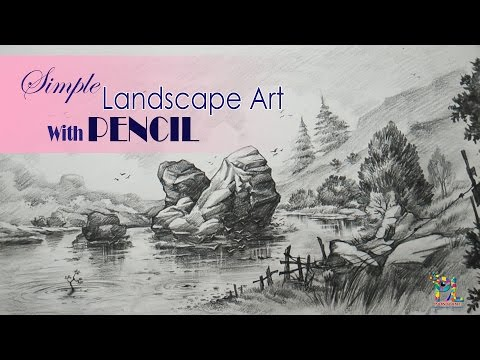 Simple Landscape Art With PENCIL For Learners | Pencil Sketching | Drawing | Shading | Step by Step