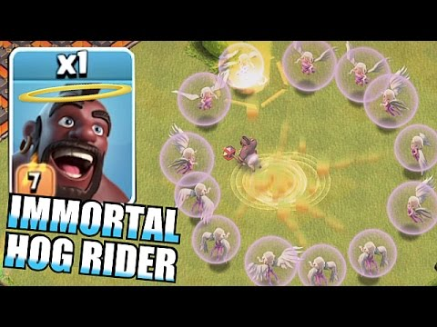 Clash Of Clans - IMMORTAL LVL 7 HOG RIDERS!! ( x16 healers Troll raids)