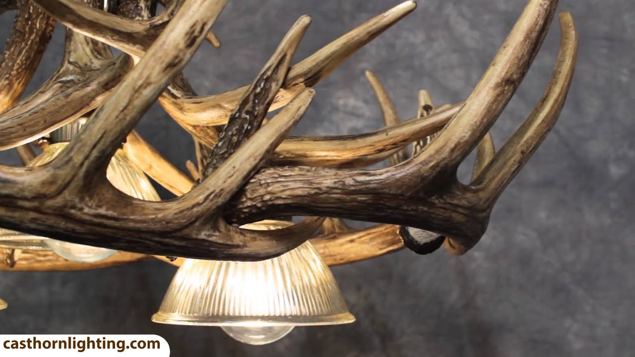 Whitetail deer 10 antler chandelier with 3 downlights cast horn whitetail deer 10 antler chandelier with 3 downlights cast horn designs youtube arubaitofo Images