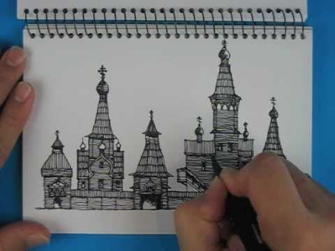 Sketch Russian Monastery Timber Churches Northern Russia