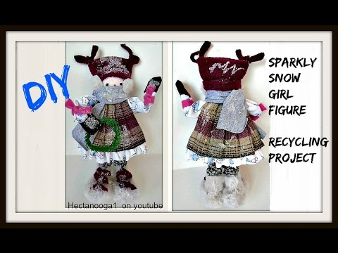 diy- SPARKLY SNOW GIRL DOLL, recycle scrap fabric project, Snow Babe, home made snowman girl doll