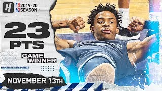 Ja Morant Hits GAME-WINNER! Full Highlights vs Hornets (2019.11.13) - 23 Pts, 11 Ast!