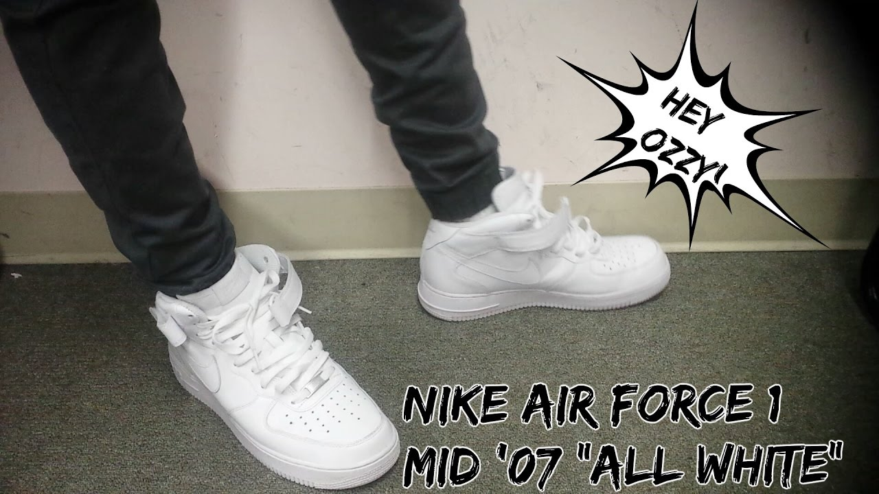 Nike Air Force One Mid '07 On Feet Review 'All White' (@hey_ozzy on Instagram) (@ChampsSports)