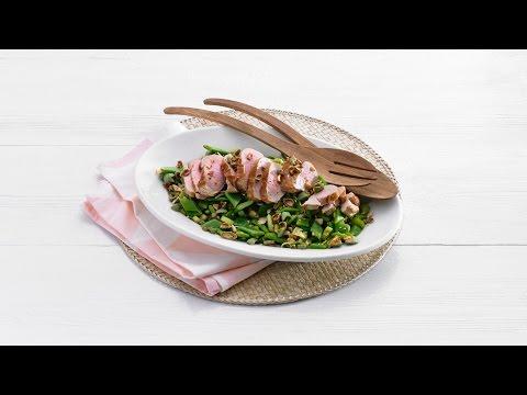 Oosterse snijbonensalade met varkenshaas & wasabibollen – Allerhande
