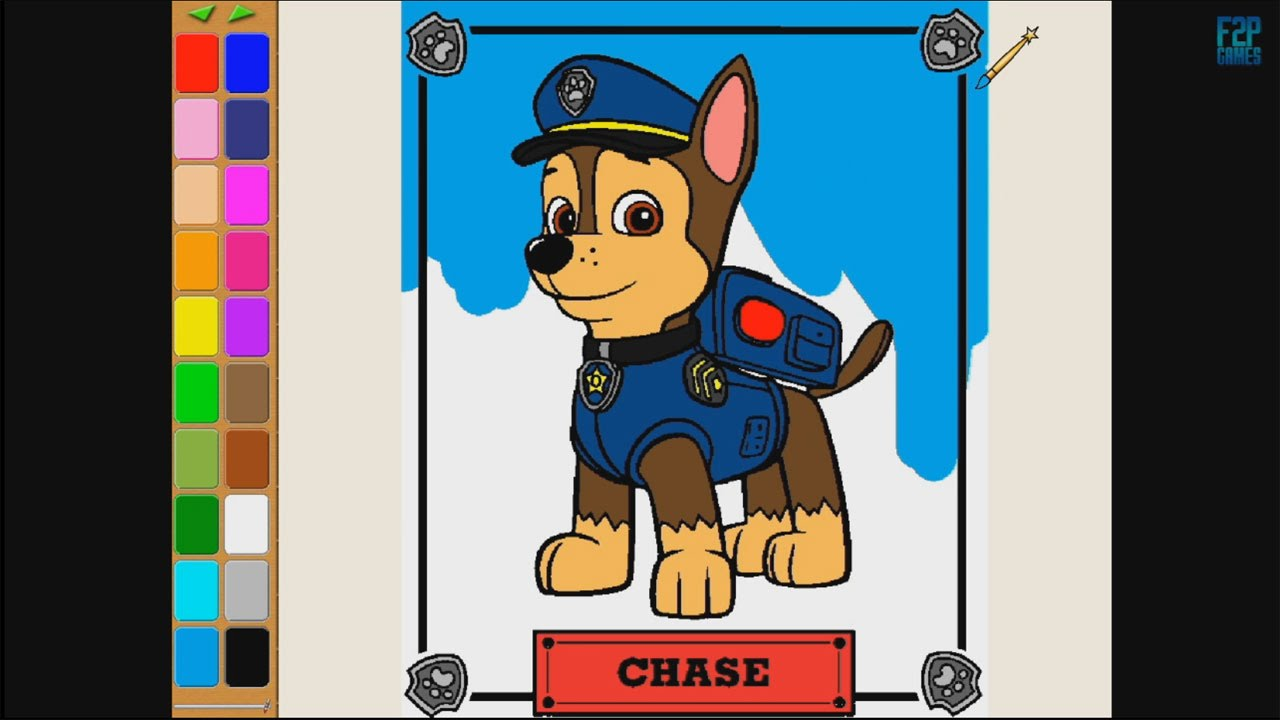 Paw Patrol Chase Coloring Pages For Kids Coloring Games Paw Patrol Coloring Book Part 2 Youtube