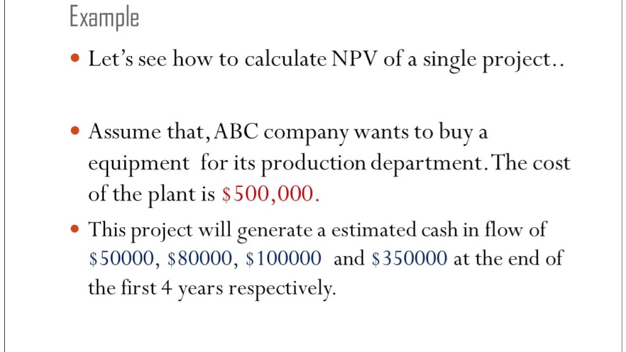 advanced npv problems In cell b2, i use the formula sumproduct(doit,npv) to compute the total npv generated by selected projects (the range name npv refers to the range c6:c25) for every project with a 1 in column a, this formula picks up the npv of the project, and for every project with a 0 in column a, this formula does not pick up the npv of the project.