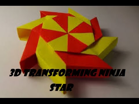 origami 3D Transforming ninja star - YouTube - photo#17