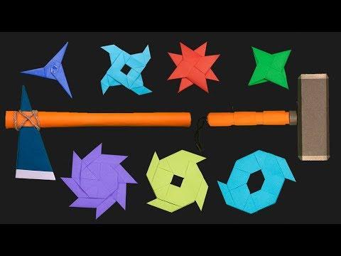 06 Easy Origami Ninja Star/axe/hammer - How to make