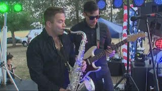 On stage with saxophonist Patrick Lamb