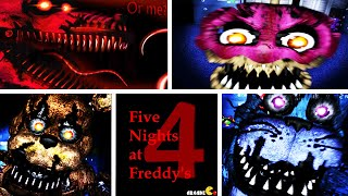 Five Nights at Freddy's 4: ALL ANIMATRONICS JUMPSCARES CUPCAKE CHICA FOXY FNAF 4