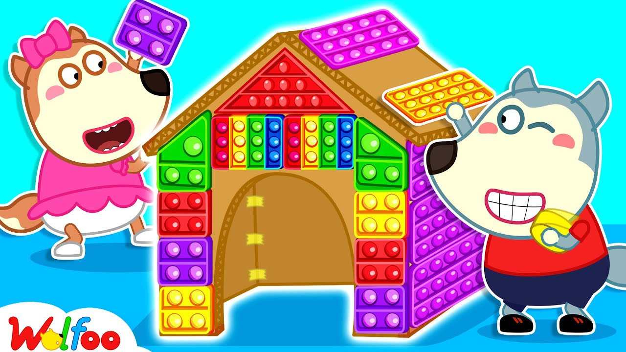 Wolfoo Makes a DIY Colorful Pop It Playhouse - Playing Pop It Challenge for Kids | Wolfoo Channel