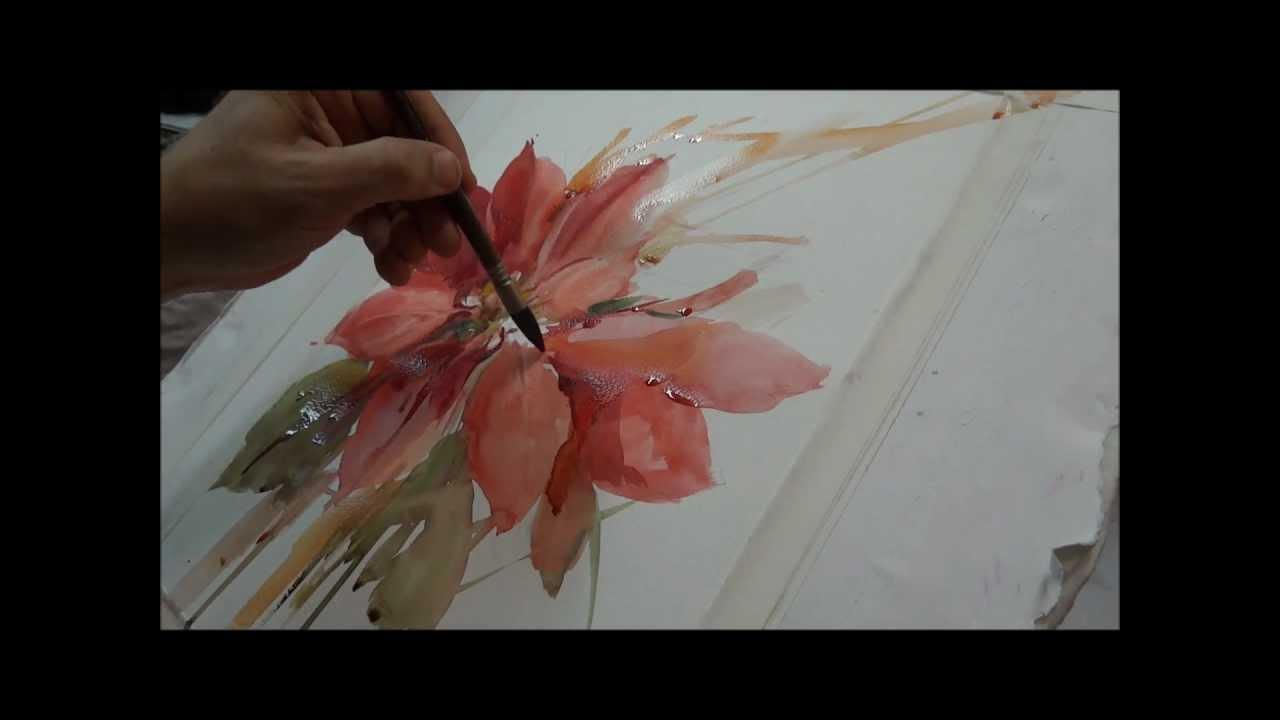Watercolor Demo - Poinsettia - YouTube