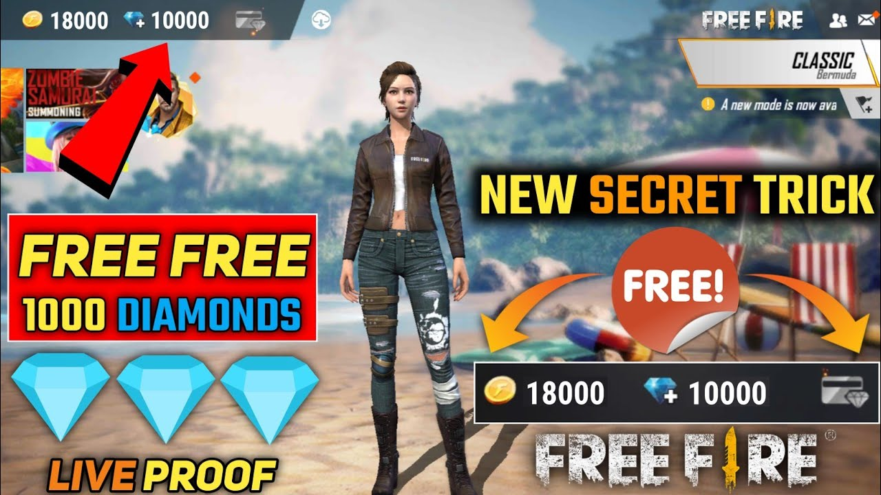 How To Get Free 10000 Diamond In Free Fire With Live Proof 2020 Free Diamond New Trick 2020 Youtube