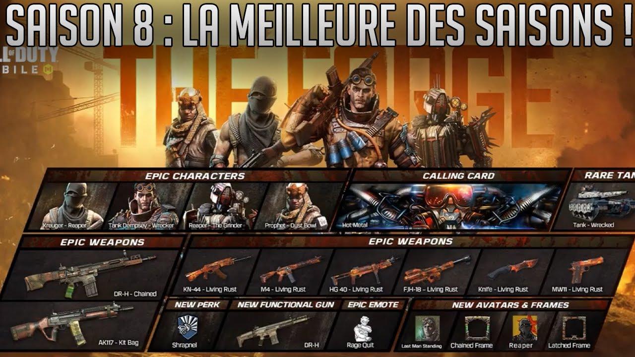 SAISON 8 : LE MEILLEUR PASSE DE COMBAT SUR COD MOBILE + PLEINS DE NOUVEAUX SKINS, ARMES ET AUTRES !!