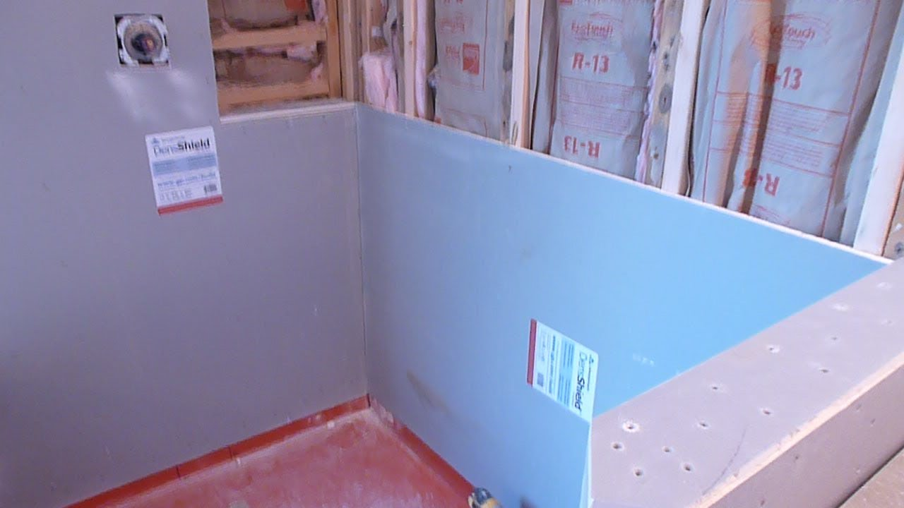 How to install shower surround tile backer board durock for Drywall or cement board for shower