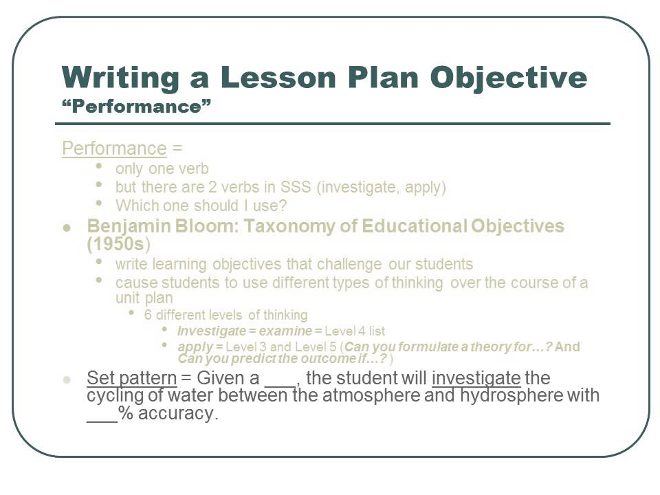 Writing Educational Objectives in a Lesson Plan YouTube – Lesson Plan Objectives