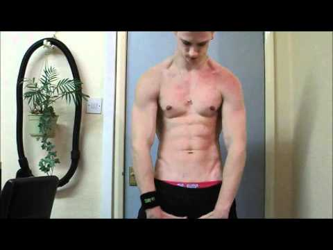 Ripped Muscle Dude Flexing and Pull Ups in Pink Boxers