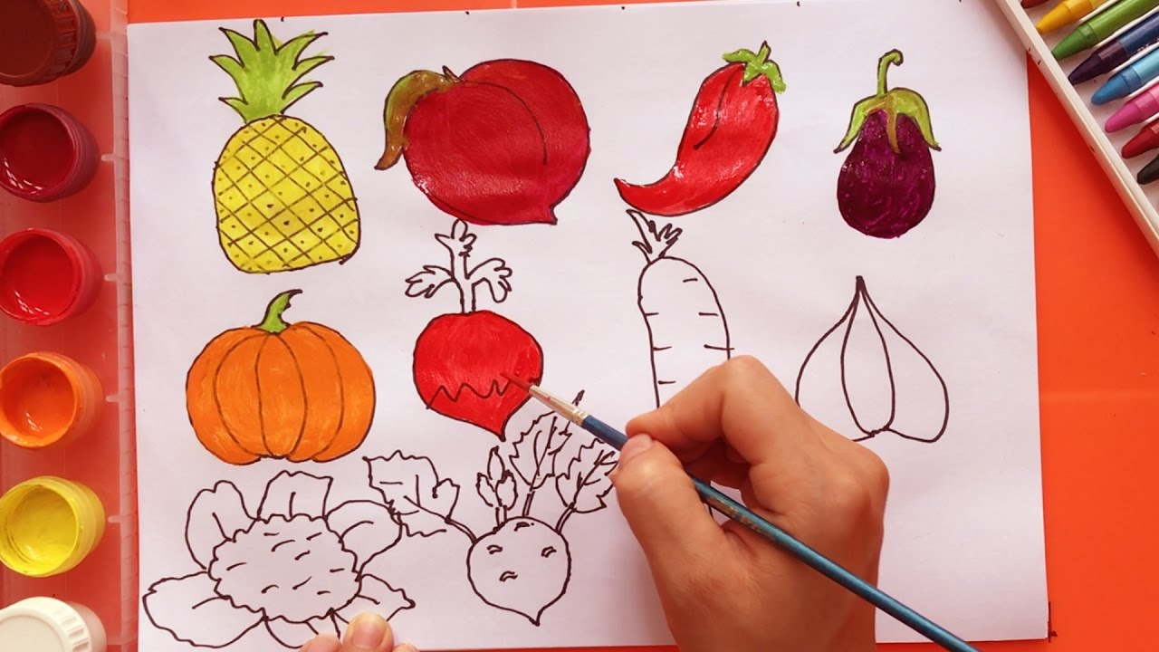 how to draw fruits and vegetables learn coloring dresses for kids boong art for kids