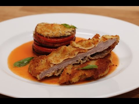 CCMLC - Escalope milanaise,  aubergines parmesane et sauce tomate