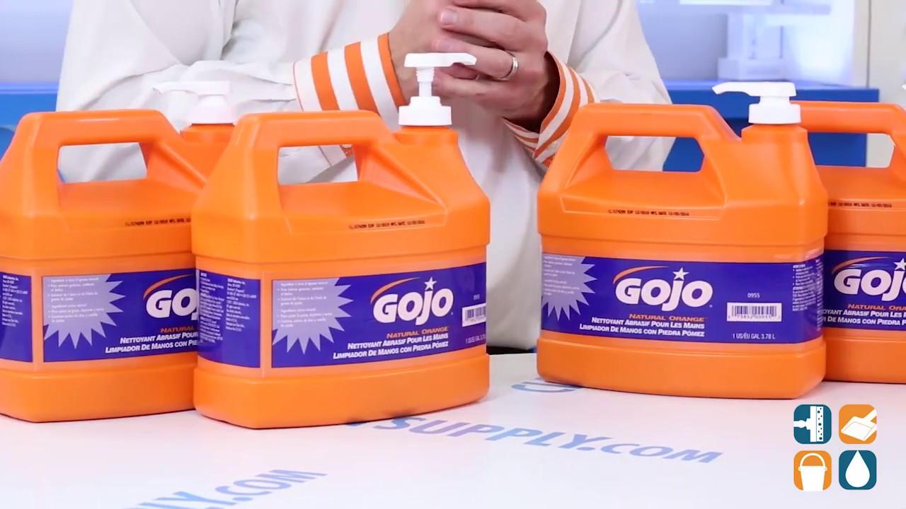 gojo 095504 natural orange pumice hand cleaner 4 pump bottles youtube