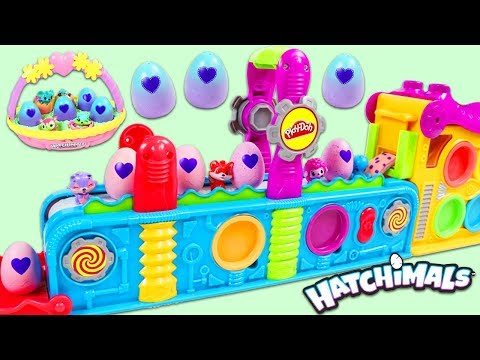 Making Hatchimals Surprise Eggs with Magic Play Doh Mega Fun Factory Playset!