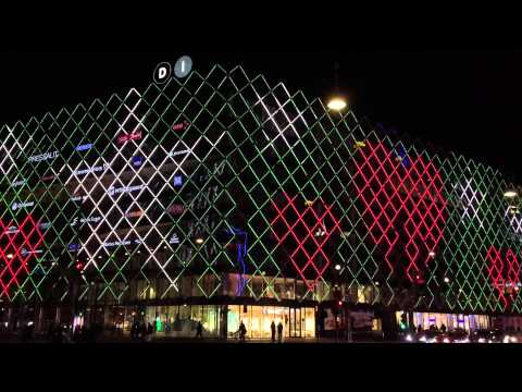 Central Square office building in Copenhagen in Christmas lights
