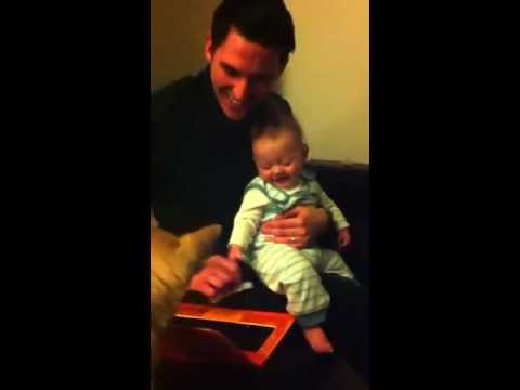 5 Month Old Baby Laughing Hysterically At Laptop
