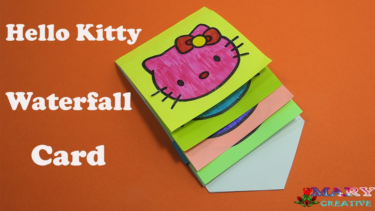 How to make hello kitty waterfall card waterfall card tutorial how to make hello kitty waterfall card waterfall card tutorial birthday greetings time lapse m4hsunfo