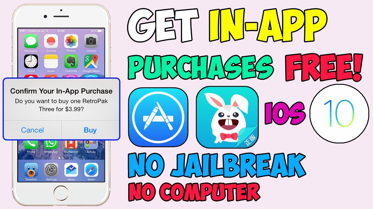 Get In-App Purchases for FREE (NO JAILBREAK!!) iOS 10 - 10 2 1 / 9 HACKED  APPS (iPhone, iPad, iPod)
