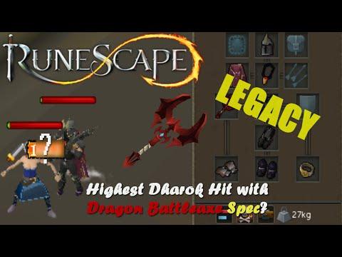 Runescape Legacy Highest Dharok Hit W/ Dragon Battleaxe Special Attack?
