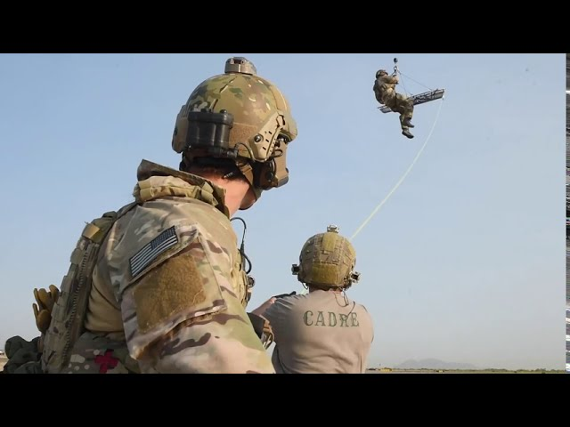 68th Rescue CTMC AIEs Land Day alternate insertion and extraction training out of a live helicopter