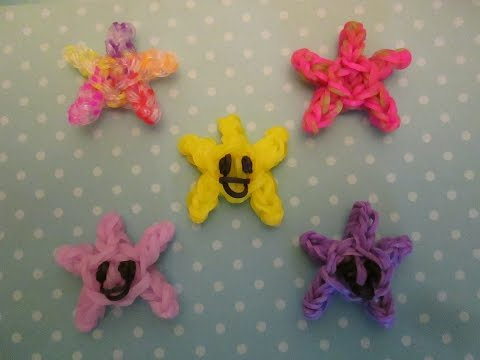 Rainbow Loom Star Charm Happy or Smiley Face. Star Fish. Easy