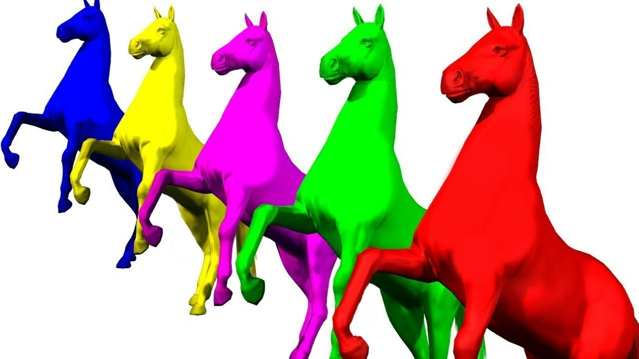 Learn Colors with Horses for Kids 3D Animation Songs for Children ...