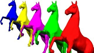 Learn Colors with Horses for Kids 3D Animation Songs for Children