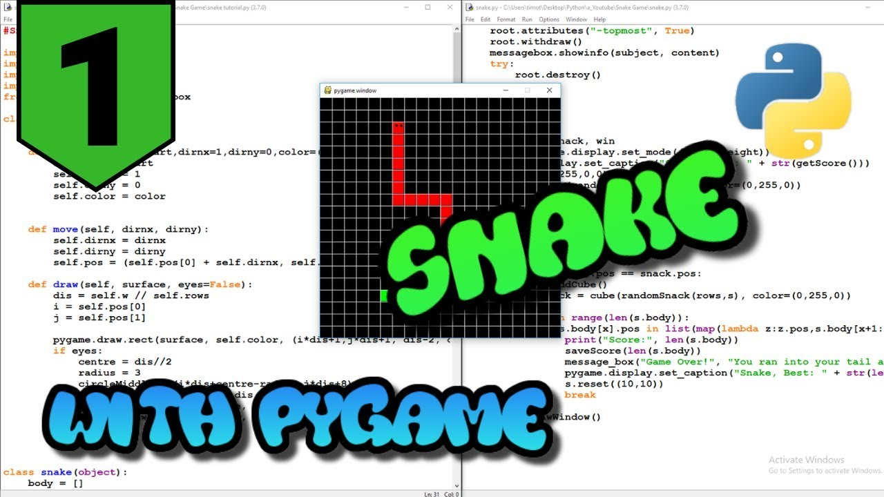Python Pygame Snake Tutorial #1 - techwithtim net