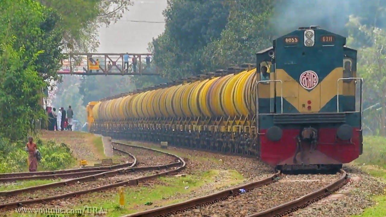 Bangladeshi Big Giant Oil Tanker Train    Broadgauge Oil Tanker Passing Mirpur Railway Station